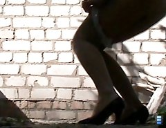 Piss close-up vids with high-heeled woman