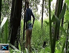 Yummy girls piddling in the woods get spied after
