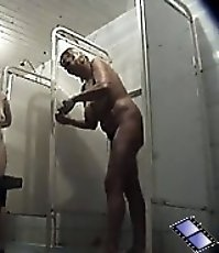 Spy after full mommy with big bouncy azz in shower