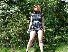 Shameless messy gingerhead tinkling in the woods