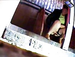 Voyeur camera films bitches pissing in park toilet