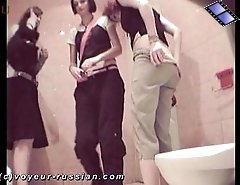 Hot naughty chicks take agroup leak filmed secretly by a toilet camera