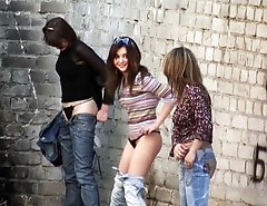 Three hot babes make a pee unaware of spying on them